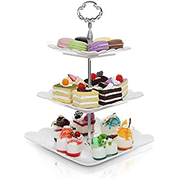 Amazon Com Chef Buddy Tier Square Glass Buffet And Dessert