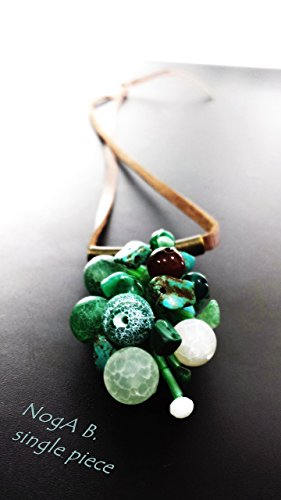 Green, brown and white, gemstones lariat necklace ()