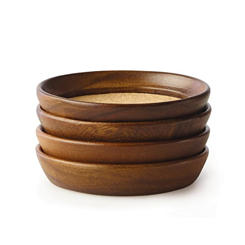 Kamenstein 4 Piece Acacia Wood And Cork Coaster Set, Natural
