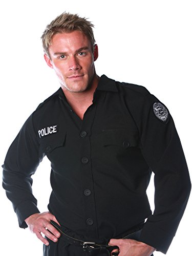 Male Police Costumes (Underwraps Costumes Men's Police Costume - Shirt, Black, One Size)