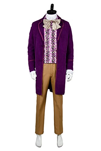 NoveltyBoy Charlie and the Chocolate Factory Gene Wilder-Willy Wonka Jacket Vest Shirt Pants Set Cosplay Costume (Willy Wonka Outfit)