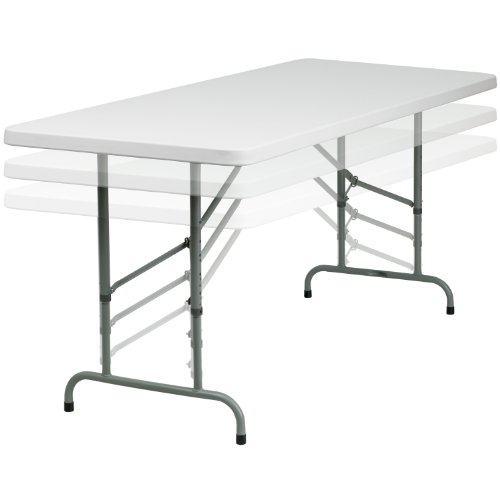 - Flash Furniture 30''W x 72''L Height Adjustable Granite White Plastic Folding Table
