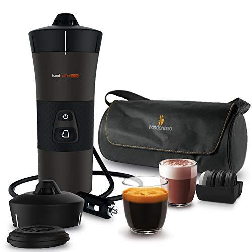 Handpresso – Handcoffee Auto Travel Pack 48312A Set con la cafetera portátil de 12V para coches que utilizan cápsulas…