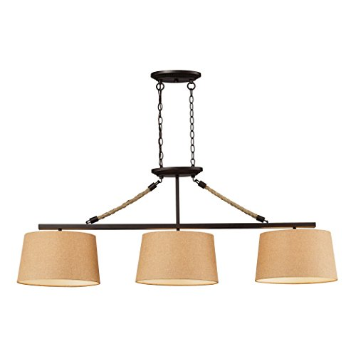 Elk Island Fixtures (Elk 73046-3 Natural Rope 3-Light Billiard/Island with Tan Linen Shade, 54 by 19-Inch, Aged Bronze Finish)