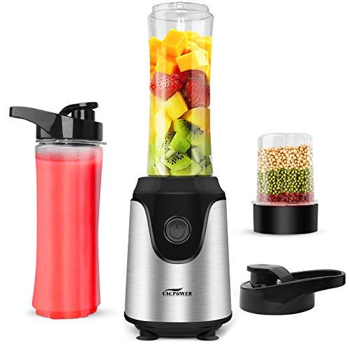 Blender-for-Shakes-and-Smoothies-Premium-Smoothie-Blender-Powerful-Personal-Blender-for-Ice-Milkshake-Frozen-Fruit-Vegetable-Drink-with-2pcs-20oz-Juice-Bottle-33oz-Bean-Grind-Cup