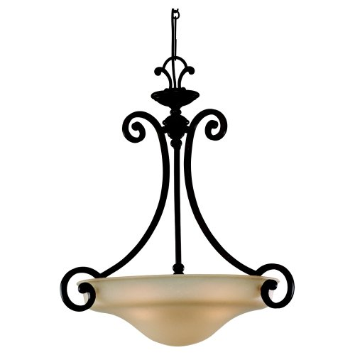 Sea Gull Lighting 65146-814 Three-Light Acadia Pendant, Champagne Seeded Glass Shade, Misted Bronze
