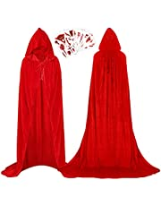 Wishstar Halloween cape met capuchon, Halloween cape tattoo stickers set, Halloween cape kostuum volwassenen fluweel vampier cape rood, bloedige tattoo-stickers 10 stuks, cape voor Halloween cosplay party