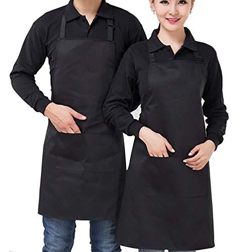 Apron Black Men, Durable Machine Washable Kitchen Cooking Apron with Adjustable Neck Strap & Pockets, 2 Pack