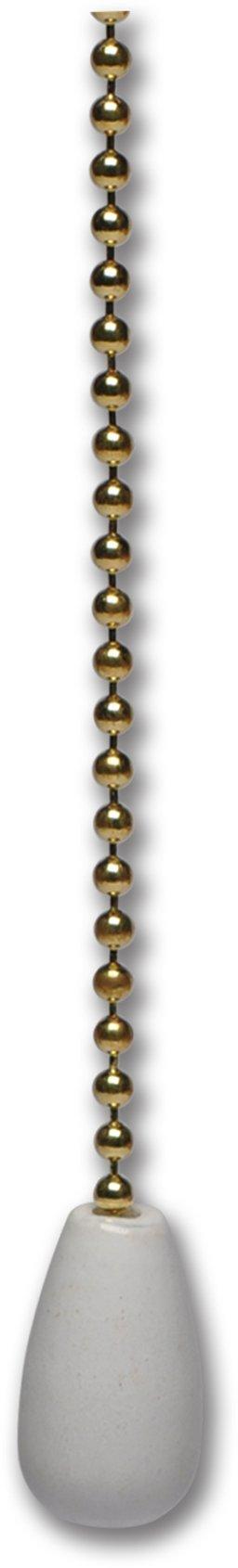 12'' White Wood Knob Pull Chain - 4/Pk