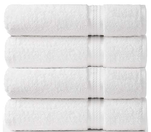 Cotton Craft Ultra Soft 4 Pack Oversized Extra Large Bath Towels 30x54 White Weighs 22 Ounces - 100% Pure Ringspun Cotton - Luxurious Rayon Trim - Ideal for Everyday use - Easy Care Machine wash (European White Towel)