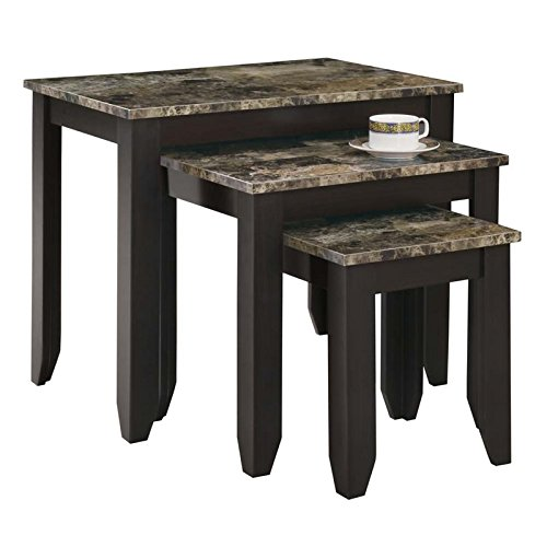 - Pemberly Row 3 Piece Faux Marble Top Nesting Table Set in Cappuccino