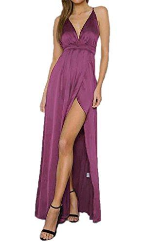 Partito Lungo Senza Unita Abito Tinta Sling Vestito Vestiti collo Nuda Elegante Purple V Sera AmanGaGa Da Schiena Festa Abiti Donna Maniche SX7wqxgnHa