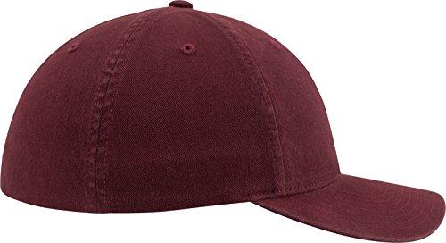 Flexfit Rojo marrón Gorra de béisbol con de Lavado algodón Acabado Unisex rrzpCwqx