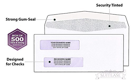 500 Envelopes for Busines Checks, Double Window For Addresses, Inner Pattern for Security Mailing ~Quickbooks Checks Fits Perfect~ Computer Printed Checks Envelope, Gummed Seal -Box of 500- -