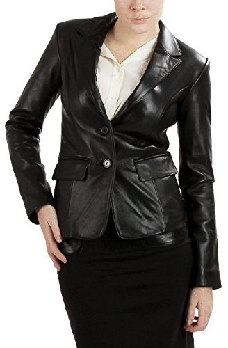 Ramonti Womens Black Lambskin Leather Jacket Blazer, Black, (Lambskin Blazer Coat)