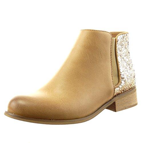 Sopily - damen Mode Schuhe Stiefeletten Chelsea Boots glitzer - Camel