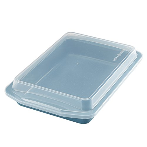 Paula Deen Speckle Nonstick Bakeware 9-Inch x 13-Inch Covered Rectangle Cake Pan, Gulf Blue Speckle