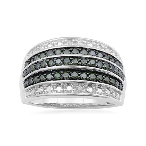 - Jewelili Sterling Silver 3/4 cttw Green and White Diamond Five Row Ring, Size 7