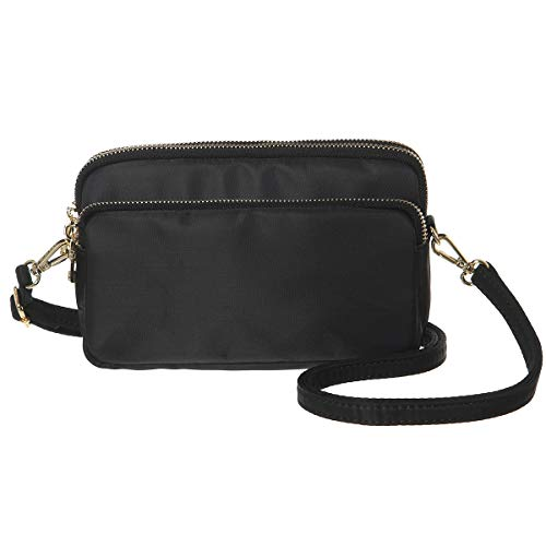 MINICAT Nylon Small Crossbody Bags Cell Phone Purse Smartphone Wallet For Women (Black/Horizontal,)