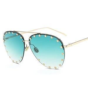 new sunglasses rivet lens fashion sunglasses European and American fashion glasses tide sunglasses,Green c6