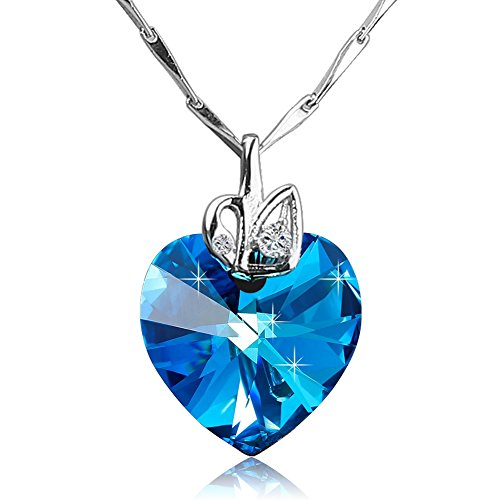 Crystal Sterling Silver Chain (Komene Women's Necklace 925 Sterling Silver Chain Heart of Ocean Adorned with Swarovski Elements Crystals Valentine's Day Gift)