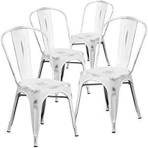 Flash Furniture 4 Pk. Distressed White Metal Indoor-Outdoor Stackable Chair