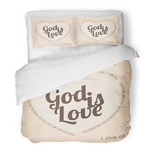 SanChic Duvet Cover Set Bible Verse for Evangelist and Valentine John 8 God Is Love Typographic in Heart Shape Decorative Bedding Set with 2 Pillow Shams Full/Queen Size by SanChic
