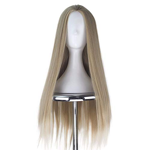 Synthetic Long Straight Men Hair Ash Blonde Color Unisex Halloween Movie Cosplay Costume Wig 80Cm]()