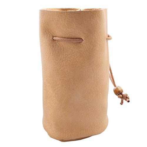 Handmade PU Drawstring Bags, Ultra-thin Soft Full Grain Drawstring Leather Pouch Purse, Brown