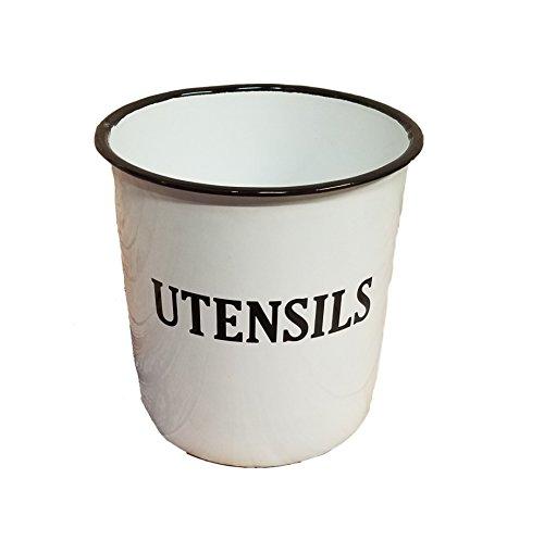 Vintage White Enamel Utensil Canister Jar Farmhouse Decor (Kitchen White Enamel Utensils)