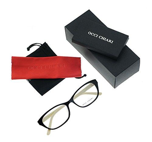 Women Fashion Rectangle Acetate Eyewear Frames Non-prescription Eyeglasses With Clear Lenses OCCI CHIARI (Black-White, - Acetate Eyewear