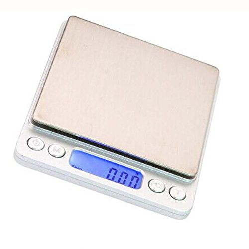 Iusun Digital Electronic Scale, Accurate 0.1Gram Precision Jewelry Electronic Digital Balance Weight Pocket Scale 3000g Scales LCD Display with Back-Light - Ship from USA (Silver)
