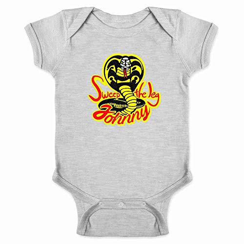 Sweep The Leg Johnny Cobra Kai Karate Kid 80s Gray 12M Infant Bodysuit -