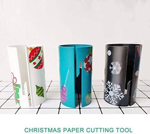 スライド包装紙カッタークリスマス切削工具ギフト包装紙ロールカッターミニクリスマス紙切削工具-ホワイト