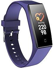 Lacyie Fitness Armband Uhr mit Pulsmesser Fitness Tracker Schrittzähler Doppeltes Farben Farbbildschirm Bluetooth Fitness Tracker IP68 Wasserdicht SchlafMonitor für IOS & Android