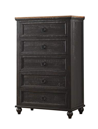 - Martin Svensson Home 6908625 Creek 5 Drawer, Antique Black and Honey Pine Chest
