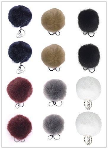 Kellys Faux Fox Fur Pom Pom Keychain Bag Purse Charm Silver Ring Fluffy Fur Ball (Pk12)