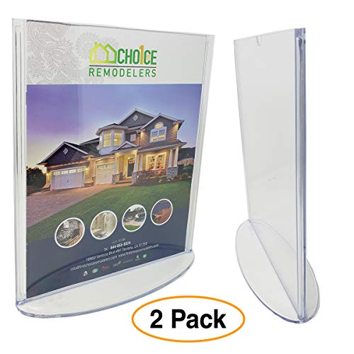 Tent Style Sign Holder - Premium 8.5 x 11 Plastic Sign Holder Thick Durable Clear Holds Print Flyer (2 Pack) for Tabletop, T-Style Table Tent with Oval Base