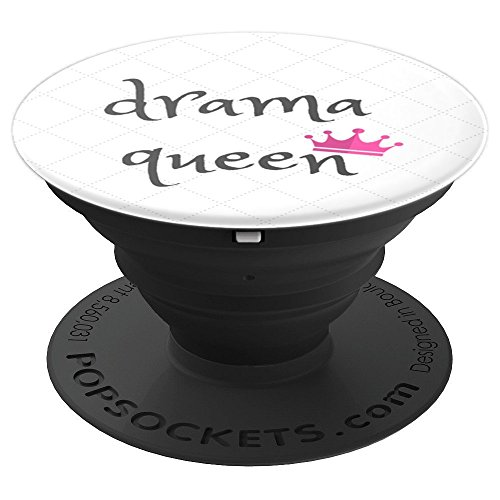 (Drama Queen White Background Black Lettering Pink Crown - PopSockets Grip and Stand for Phones and Tablets)