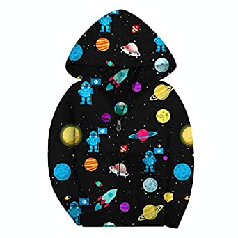SAYM Boys' Galaxy Jackets Fleece Full Zip Hooded Hoodie Large / US14-16,11-13 years old Color 1