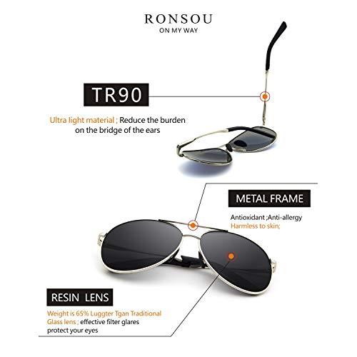 RONSOU Oversized Aviator Sunglasses for Men Women Polarized UV Protection Vintage Driving Sun Glasses