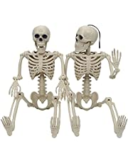 """JOYIN 2 PCS 24"""" Halloween Skeletons Full Body Hanging Skeletons Human Plastic Bones with Movable Posable Joints for Halloween Party, Graveyard Decorations"""
