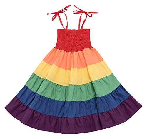 Girl Dresses, Summer Girls Beach Rainbow Dress Girls Sleeveless Sling Perform Party Cotton Tutu Dress (Colours, 18-24 -
