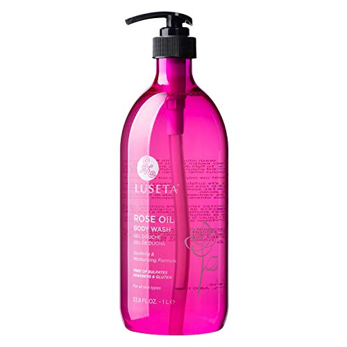 Luseta Rose Oil Body Wash, Ultra Hydrating Shower Gel for Nourishing Essential Body Care, Sulfate Paraben Free 33.8oz