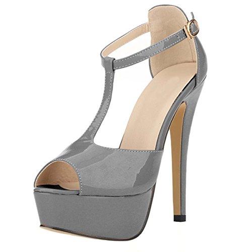 HooH Women's Peep Toe Platform T-Strap Stiletto Dress Sandals Grey JhOZ1Ku8s0