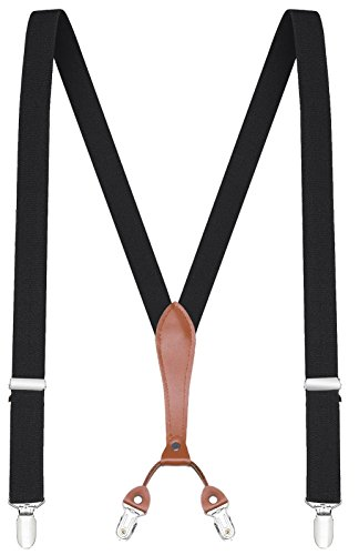 Buyless Fashion Adjustable and Elastic Solid Color Mens Suspenders, Metal Clips