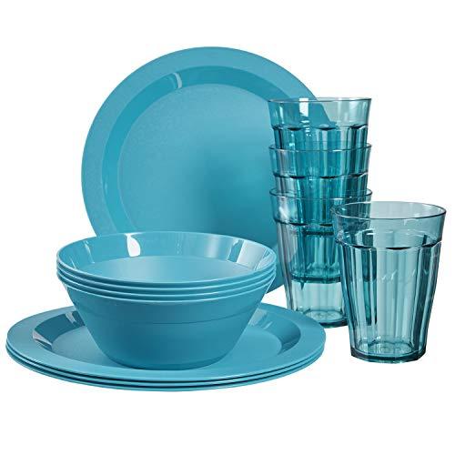 Cambridge Plastic Plate, Bowl and Tumbler Dinnerware | 12-piece set Teal (Dinner Set Safe Microwave)