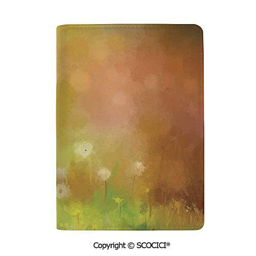 SCOCICI Leather Passport Cover Luxury Dandelion Wild Nature Pastel Grass Spring Floral Art Theme Travel Wallet Case for Men & Women