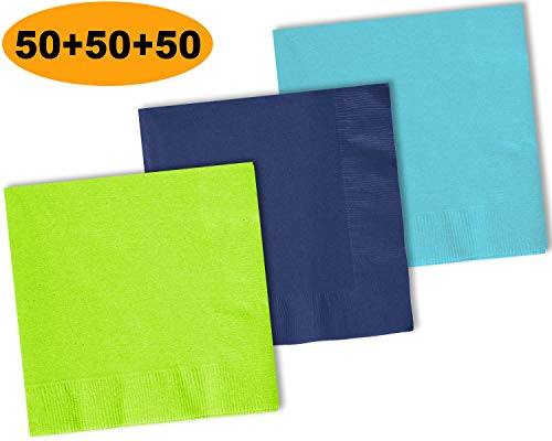 (150 Beverage Napkins, Lime Green, Navy blue, Island Blue - 50 Each Color. 2 Ply Paper Cocktail Napkins. 5