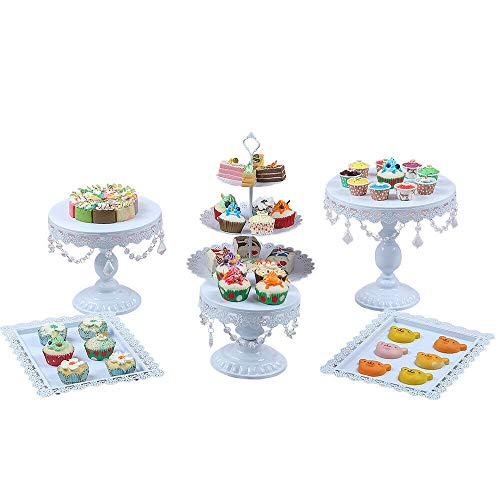 Six-Piece White Metal Cake Stand + Crystal, Cake Crystal Mental Dessert Display Plate Tower 6 European Style for Home 6X Wedding Stand Cupcake Holder Birthday Party Decor 6PCS Plates W from LOYALHEARTDY19